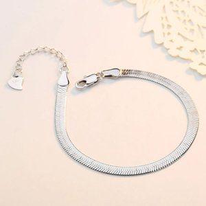 Silver Flat Snake Chain Herringbone Bracelet